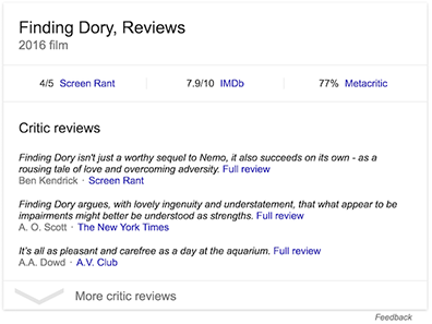 Critic review example - Google