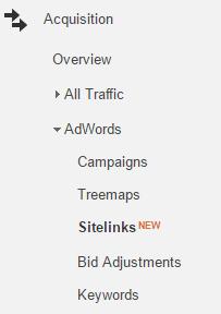 analytics sitelinks