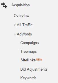 analytics sitelinks