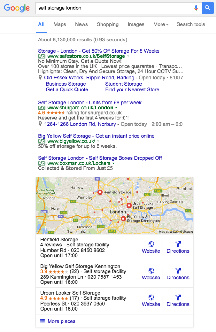self storage London Google search for PPC and SEO