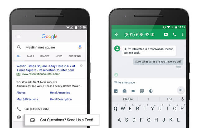 Google click to message
