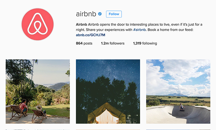 Airbnb's Instagram feed