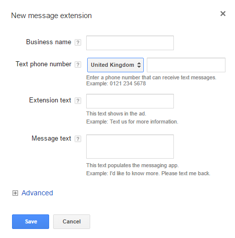 Click to message extension set up screen