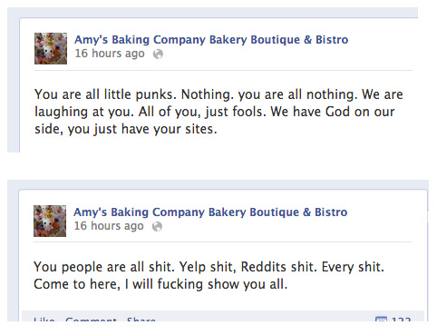 Amy's Baking Company Facebook meltdown