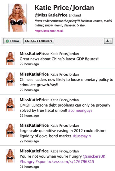 Snickers posts on Katie Price's Twitter