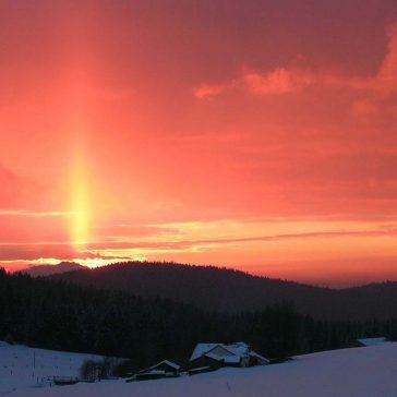 ski slope pink sky