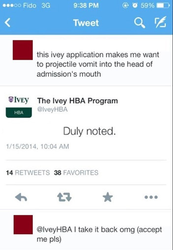 Social media fail - Ivy college admission application