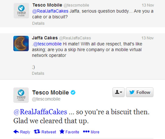 Tesco Mobile and Jaffa Cakes chat