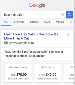 Google best hair salon price extensions