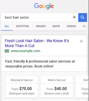 Google best hair salon price extensions