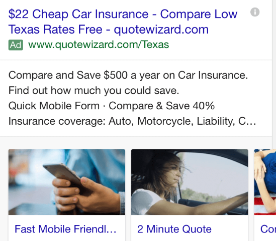 cheap-car-insurance image sitelink extensions