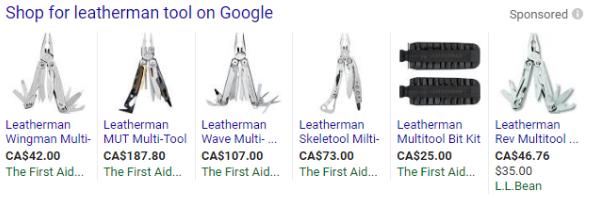 Leatherman tool product listing ads