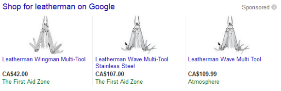 Three leatherman product listing ads