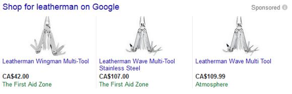 Three leatherman product listing ads
