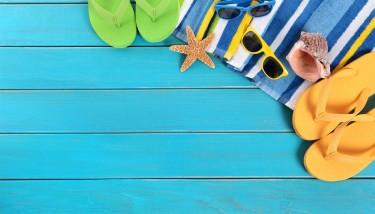Flip flops and towel