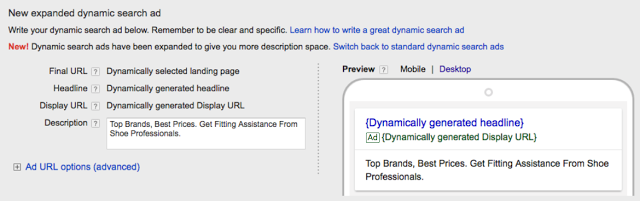 Google Dynamic search ads (DSAs)
