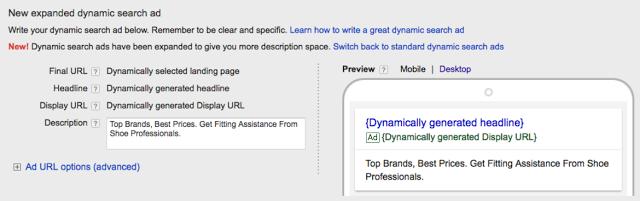 Google Dynamic search ads (DSAs)
