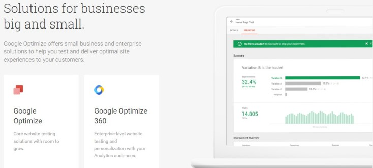 Google Optimize business solutions