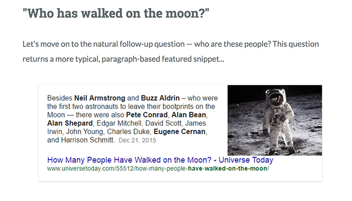 Who has walked on the moon? Search result