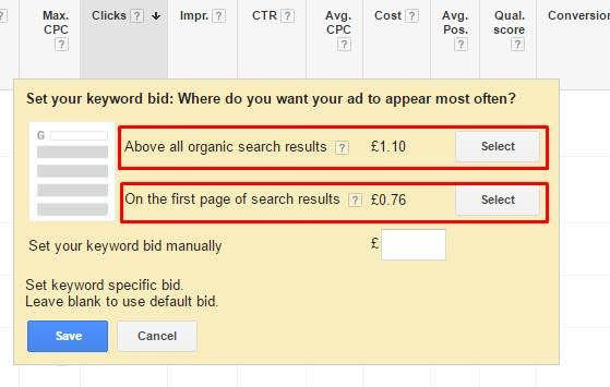 AdWords bidding recommendations
