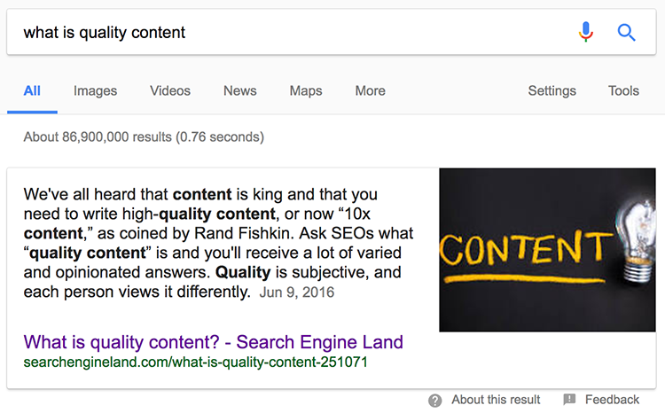 What is quality content Google answers