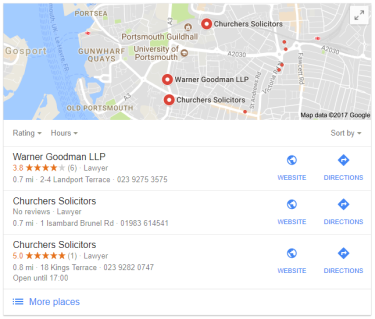 Google Maps results - Portsmouth solicitors