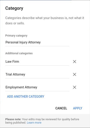 Personal injury attorney in Google My Business
