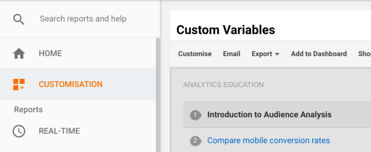 Customisation for travel UX improvements in Google Analytics