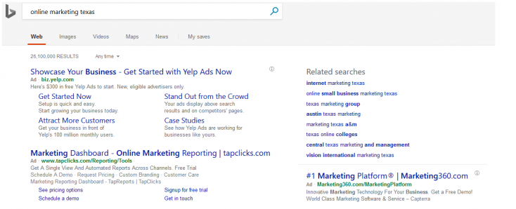 Bing headers on PPC ads