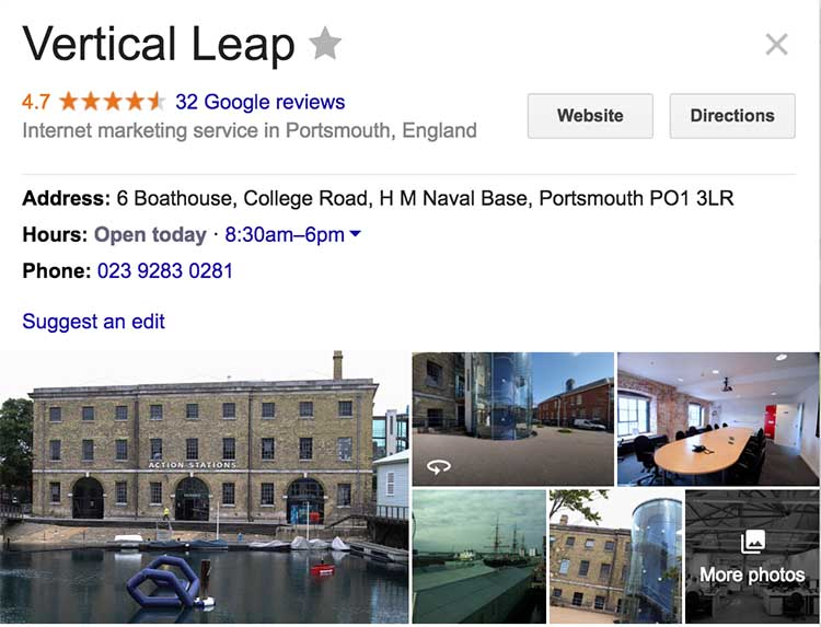 Vertical Leap's Portsmouth office has a Google My Business listing