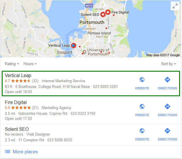 Google Local Pack results for Vertical Leap's Portsmouth office