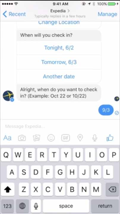 Expedia travel chatbot - conversational ui example