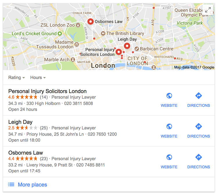 3 pack of local SEP results in London
