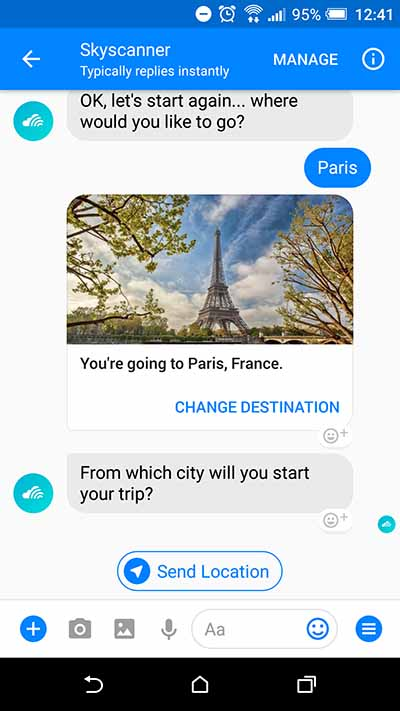 Skyscanner chat bot