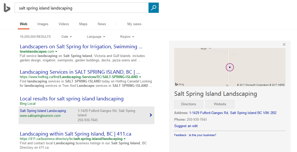 Bing local pack expanded