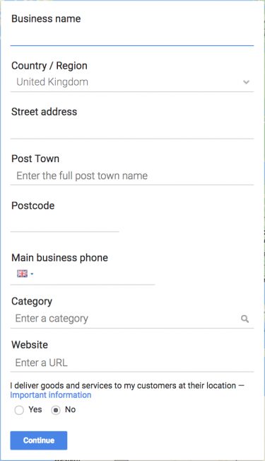 Google My Business sign up process