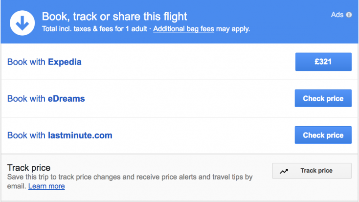 Google flights experience