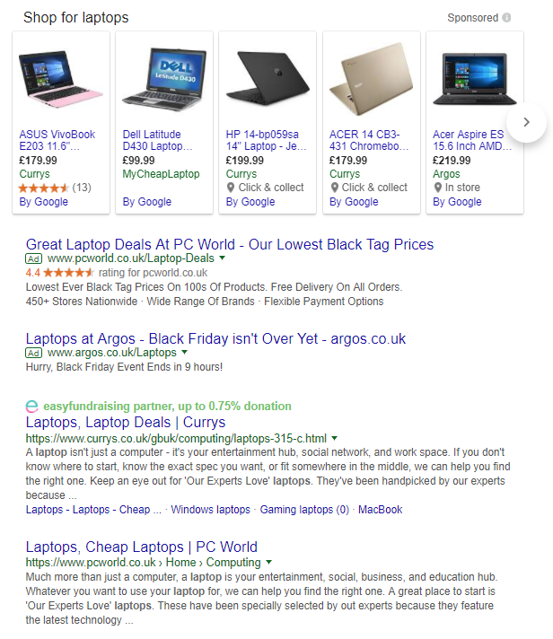Google Shopping ads for laptops
