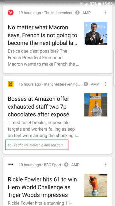 Google Now surfacing content based on previous interests