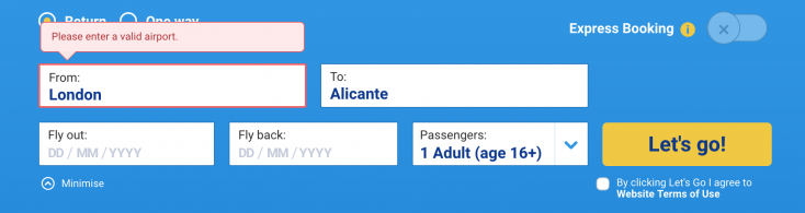Ryanair has UX issues
