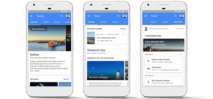 Google as a travel planning tool