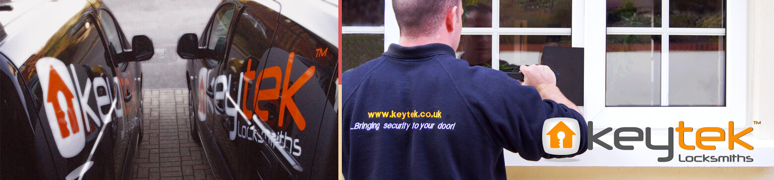 Montage of Keytek's fleet of branded vans and one of its locksmiths working to gain access to a property