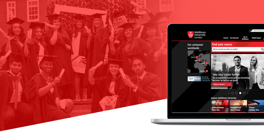Middlesex University Web Design and Performance UX Case Study Hero