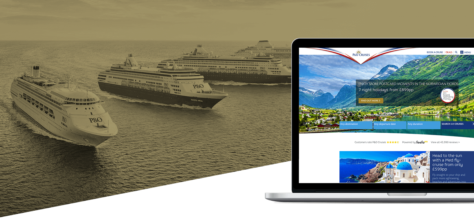 The P&O website homepage following SEO optimization