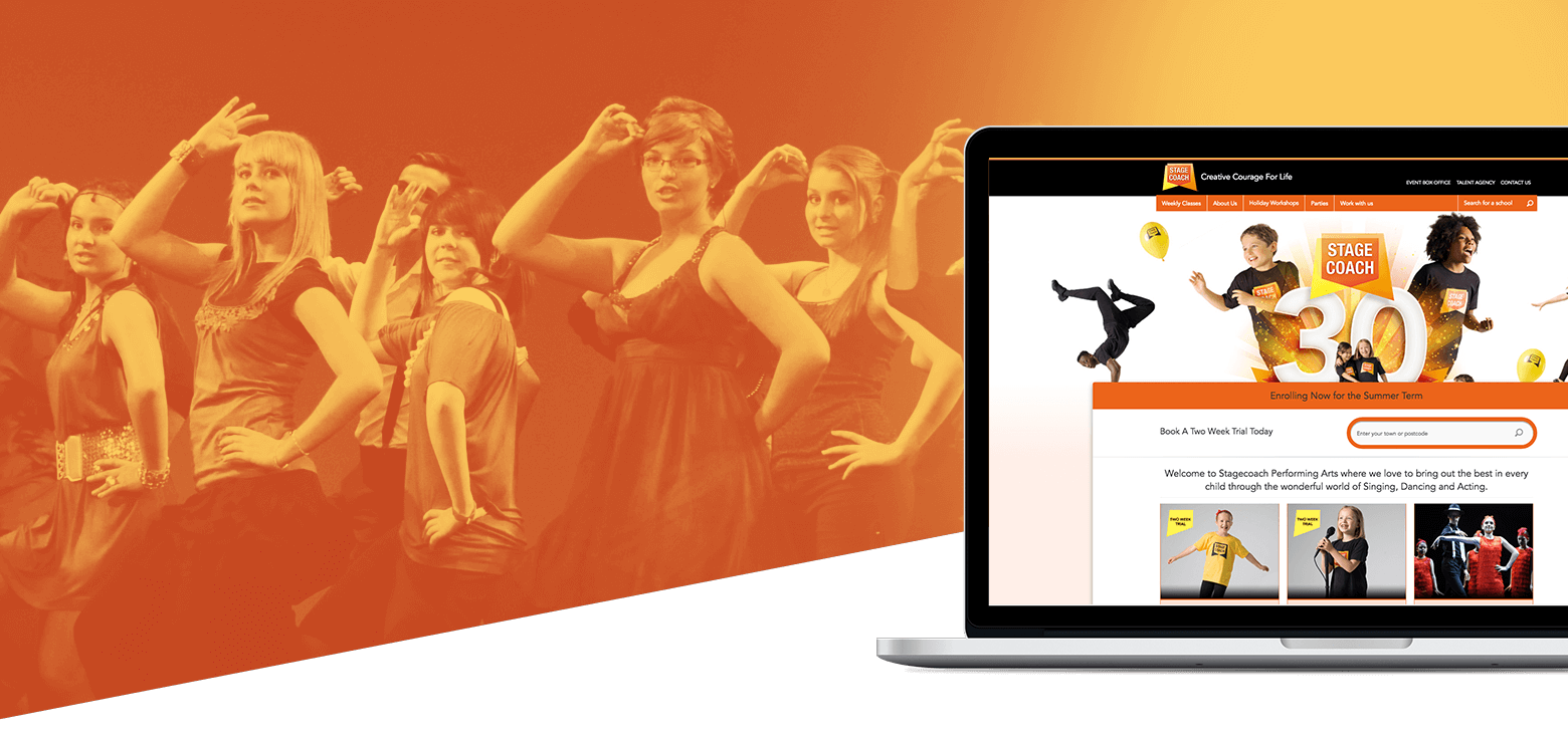 The homepage of the Stagecoach website for children's performing arts