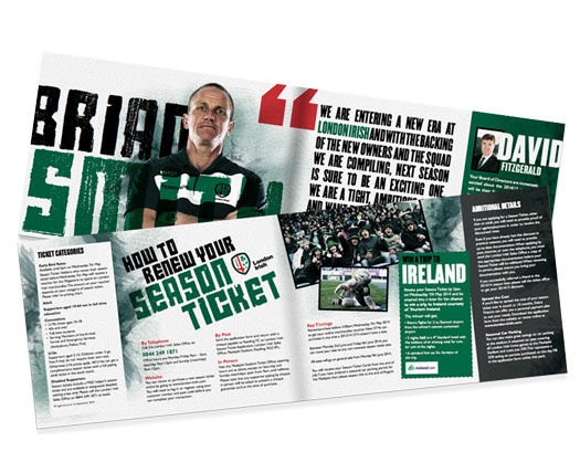 Print design examples for London Irish Rugby Club