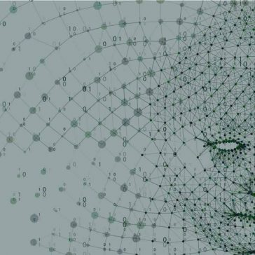 A network of binary data forms a human face