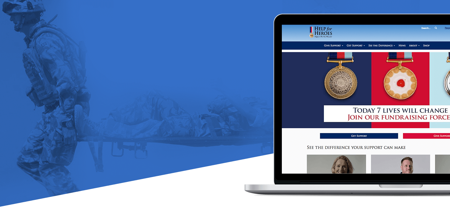 The homepage of the Help for Heroes website following an integrated digital marketing campaign by Portsmouth agency Vertical Leap