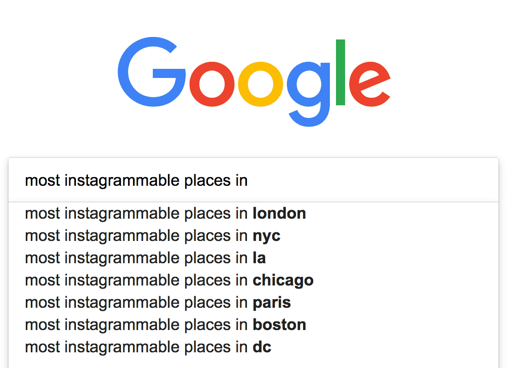 Google Suggest for instagrammable places