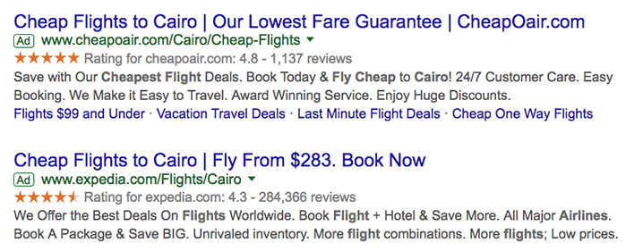 Cheap flights to Cairo Google Ads